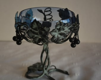 Unusual Smoked Glass and Metal Compote