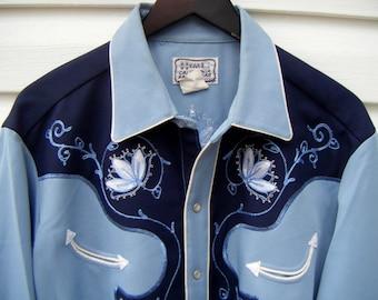 Blue Vintage 1960's H Bar C Western Wear Men's shirt size large