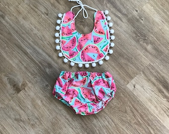 Watermelon Set: cake smash, baby shower, baby girl outfit