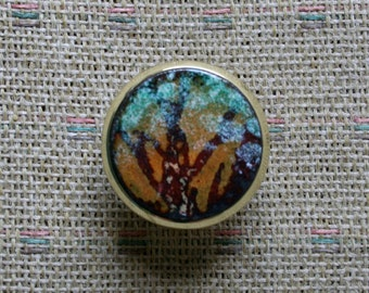 Copper Enamel Cabinet Knob / Trees at Dawn Pair / Art Drawer Knob