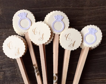 Bridal Shower/Engagement Party Drink Stirrers or Toothpicks - Set of 20