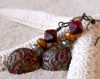 Glass Beaded Earrings - Boho Earrings- Gift for Her - Dangle Earrings - Drop Earrings - Bead Earrings -  Rustic Red Earrings