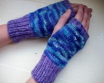 Hand warmers merino fingerless gloves purple blue