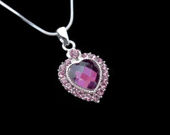 Crystal Heart Pendant Charm Necklace Silver Tone Light Amethyst Purple Lavender With 10mm Heart Amethyst Purple