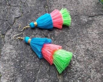Three Layered Tassel Earrings,Cotton earrings,bohemian earrings.