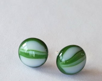 Green Stud Earrings, Green and White, Post Earrings, Fused Glass Jewelry, Sterling Silver Posts, Forest Green, Made in USA