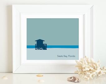 Siesta Key Print ~ Siesta Key Art ~ Siesta Key Florida ~ Siesta Key Lifeguard Stand ~ Siesta Key Poster ~ Siesta Key Beach Art ~ Siesta Key