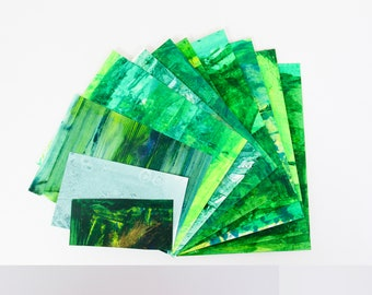 Handmade Abstract Painted Scrap Paper Pack - assorted weight papers for scrapbooking/card making/collage/journaling - green