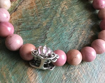 Pretty in Pink Lampwork, rhodochrosite, and rose quartz stretch bracelets perfect for spring
