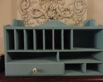 Vintage Aqua Secretary/Shelf