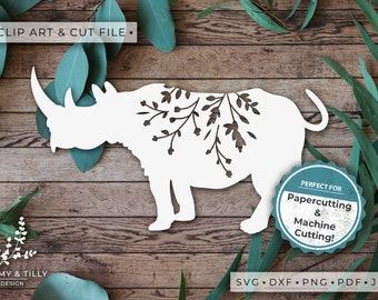 Rhino Silhouette - Clipart & Cut File - Hand Papercutting - Cricut / Silhouette - SVG DXF PNG Pdf Jpg - Kids Children Nursery