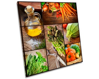 Rustic Vegetables Kitchen Oil CANVAS WALL ART Square Print