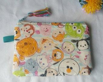Tsum-tsum pouch, kawaii tsum tsum, pochette, gift for her, zipper pouch, handmade, japanese cotton