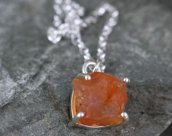 Fire Opal Pendant - Rustic Uncut Fire Opal Necklace - October Birthstone - Raw Orange Mexican Fire Opal