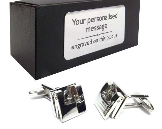 Office hole punch stationery themed novelty CUFFLINKS gift, presentation box PERSONALISED ENGRAVED plate - 275