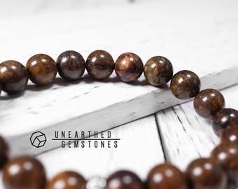 One Left 10mm Bronzite Bracelet - Stretch Bracelet, Earthy Bracelet, Earthy Jewelry, Brown Beaded Bracelet, Rock Bracelet