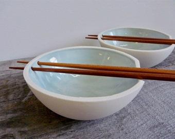Porcelain Rice Bowl with Chopstick Holder, Celedon Glaze, Chopsticks Included