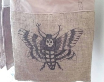 Tote bag burlap handpainted moth skull