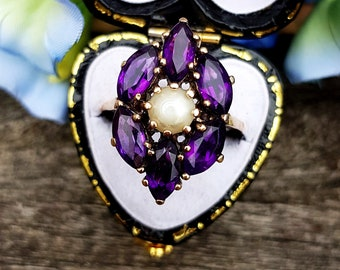 Vintage 1969 9ct Yellow Gold Vibrant Purple Amethyst and Pearl Statement Ring / Size P 1/2