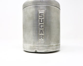 Vintage Sugar Canister Brushed Aluminum 1950s Kitchen Countertop or Pantry Container