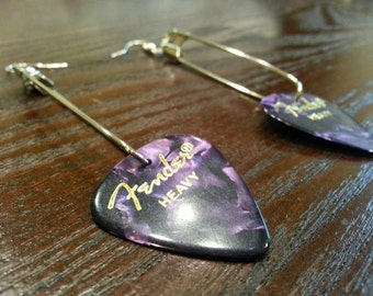 Guitar Pick Safety Pin Earrings