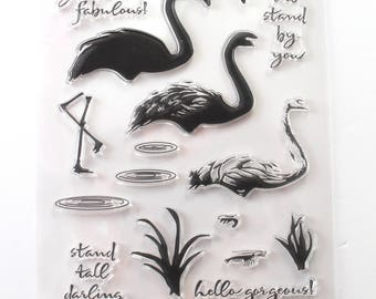 Swan/ Flamingo Silicone Stamp/ Birds Clear stamp/ Wildlife Rubber stamps