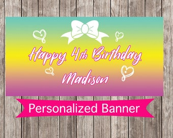 Rainbow Ombre Personalized Party Banner | Candy Land Party Decoration | Ombre | Rainbow Party Decor