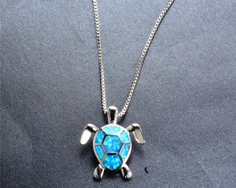 Fire Opal & Silver Turtle Necklace