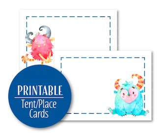 Monster Food Labels | Monster Party Decor Buffet cards | Lil' monster party | Tent Cards | Printable Place Cards | 1577