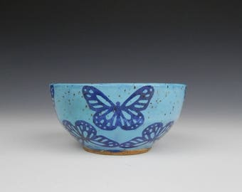 ceramic ring bowl, ceramic prep bowl, blue stoneware bowl, blue butterfly