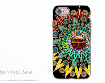 Tribal Aztec Sun iPhone 7 / iPhone 8 Case - Artistic and Colorful Dual Layer Protective Case for Apple iPhone 7 - Sun Shaman