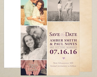 FREE SHIPPING - Rustic Wedding Save the Date Photo Card - Personalized Multi Photo Card - Rustic Save the Date - Customize Color and Content