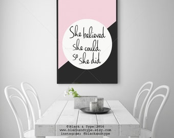 She Believed She Could, So She Did    typography art, motivational poster, marble and blush pink, marble print, wall art, dorm art, tween