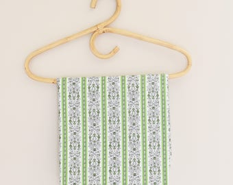Retro Green Fabric Remnant -  Green scroll pattern on white background- Light Cotton/Cotton Blend- 1960's - Era
