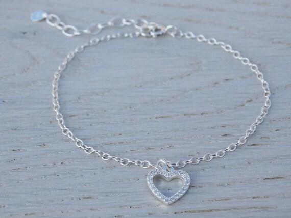 Silver Heart Bracelet, Cubic Zirconia & Sterling Silver