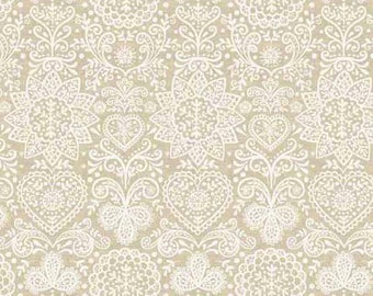 White Christmas Fabric, Ivory Snowflake Fabric, Ivory Christmas Fabric, Cream, Makower UK, Scandi 4, Lace in Gold, Ivory Quilting Cotton