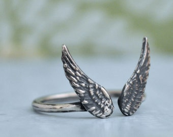 SILVER WING RING, sterling silver winged ring, adjustable wing ring, angelic, feather ring, stacking wing, sterling silver stack ring