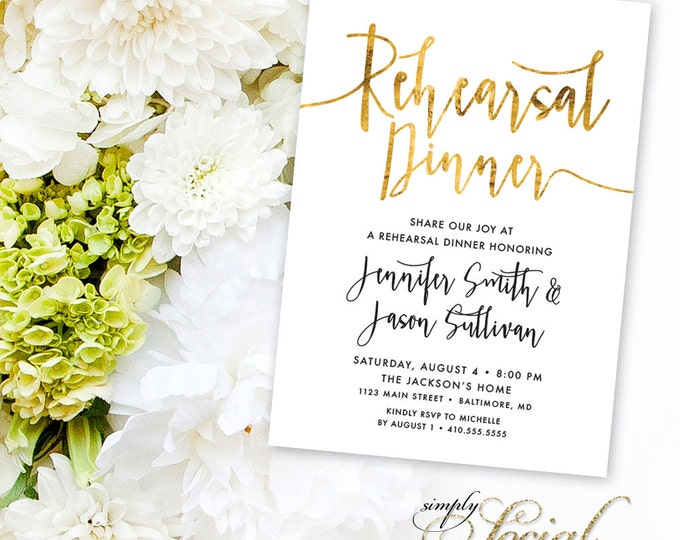 Calligraphy Rehearsal Dinner Invitation - Faux Gold Foil Black and White Calligraphy Typography Printable Classy
