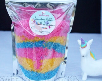 Unicorn bath salt soak, bubble bath , bath salts 16 oz