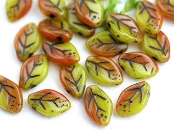 12x7mm Autumn Leaf beads Yellow Orange leaf Black Inlays Czech glass pressed leaves - 25Pc - 0424