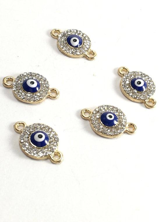 Gold plated Evil eye charm zircon beads Turkish nazar supplies