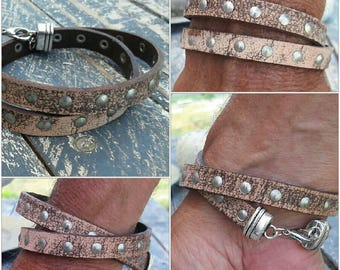 Men's Leather wrap bracelet, Italian leather brown cream color studs cuff,  gift for him