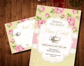 Yellow Pink Shabby chic Bridal Tea Party Invitation. DIY card. Roses