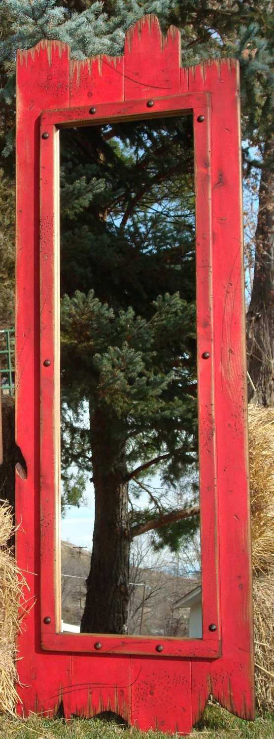 Barn Wood Mirror Rustic Home Decor: 60x22 Full-Length Red Barn Wood Mirror. Great For Any Dressing