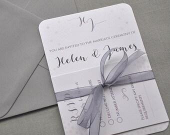 Winter Wedding Invitation, Silver Wedding Invitation, White Wedding Invitations, Grey Ribbon, Grey Wedding, Optional Diy Invitation Kit