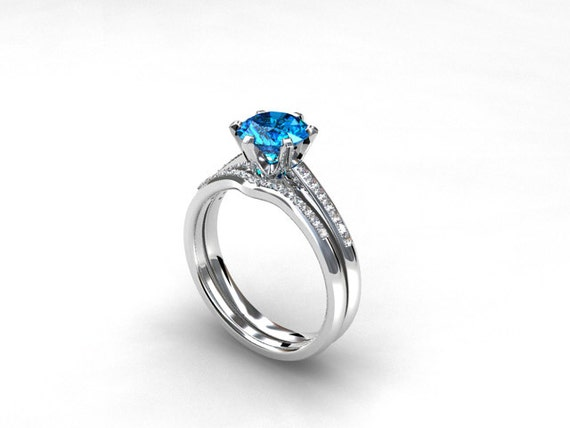 engagement ring set Swiss blue topaz Diamond band wedding