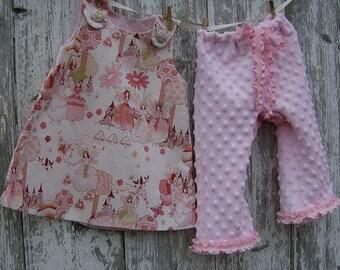 Tillbrook Fairies Pink A-Line Jumper Dress and Pink Chenille Minky Dot Pants 12 - 18 - 24 months 2T - Free Shipping