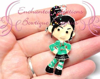 "2"" Vanellope Inspired Charm, Candy Theme, Chunky Pendant, Keychain, Bookmark, Zipper Pull, Chunky Jewelry, Purse Charm, Planner Charm"