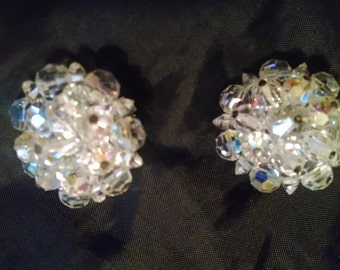 Vintage Crystal Cluster Earrings,   50s Clip-on Earrings