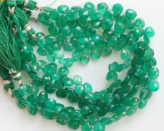 Green Onyx Beads, Green Onyx Heart Briolettes, Green Onyx Faceted Heart Beads, Emerald Green Onyx, Original Green Onyx Necklace, 7mm